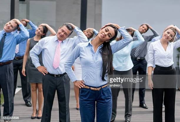 Business people taking an active break