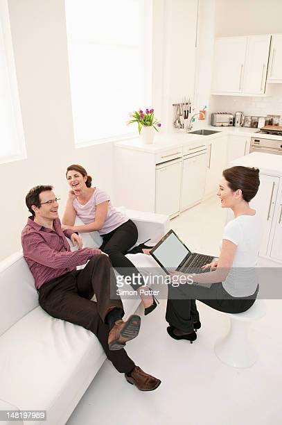 Business people talking in break room