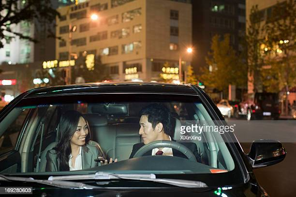 Business People Talking In Car
