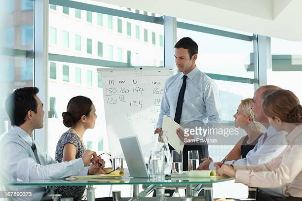 ビジネス会議で話している人々