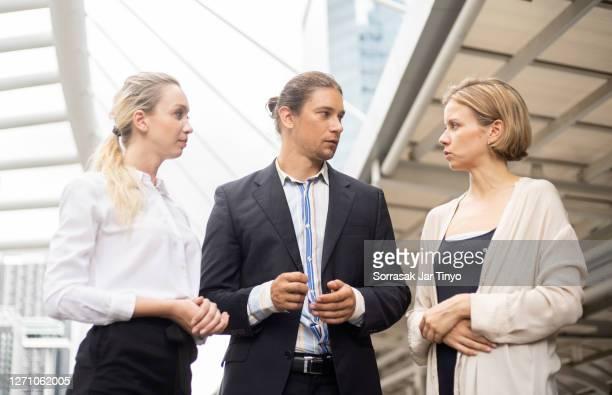 ฺbusiness people talking in serious topic about money business crisis - men's field event stock pictures, royalty-free photos & images