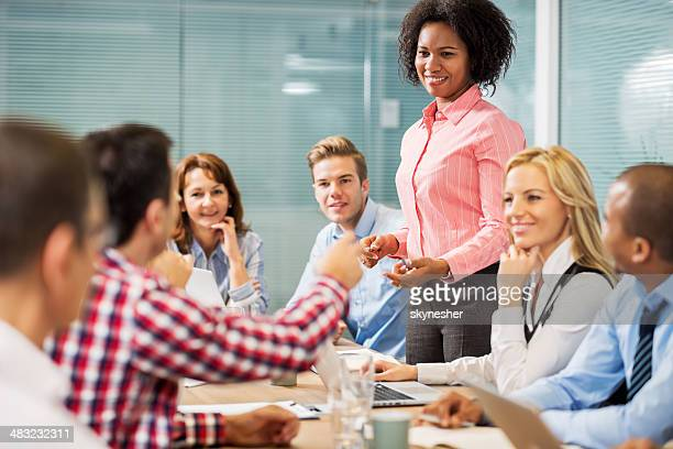 Business people talking on a meeting.