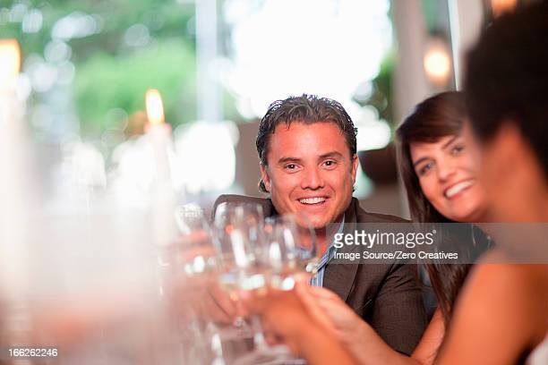 Business people toasting in restaurant