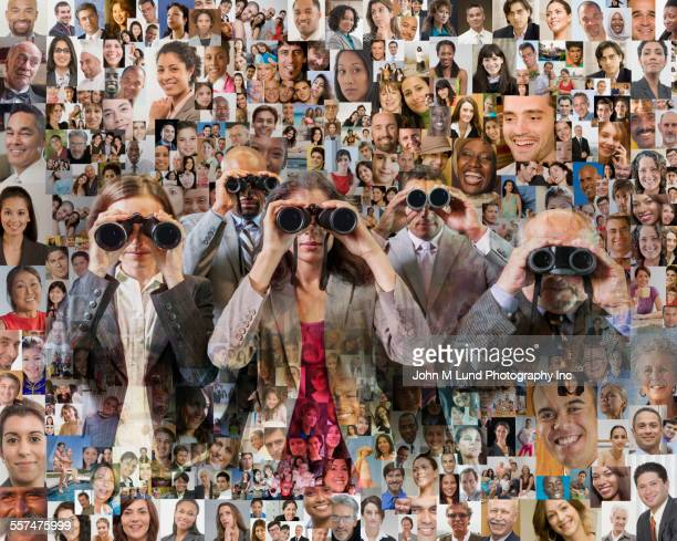 Business people using binoculars to search collage of people