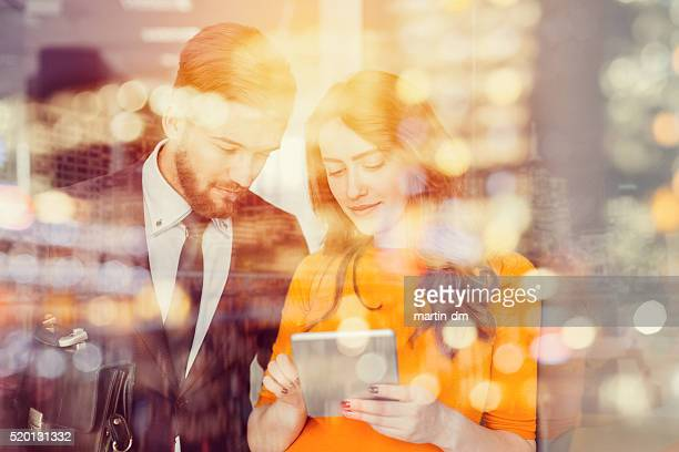 business people using tablet in the office - secretary stock photos and pictures