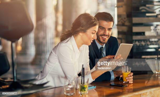 Business people using tablet