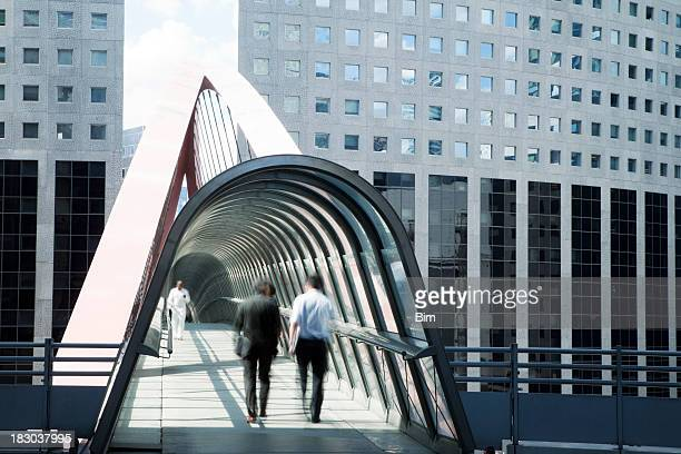 Business People Walking Along an Elevated Walkway, La Defense, Paris