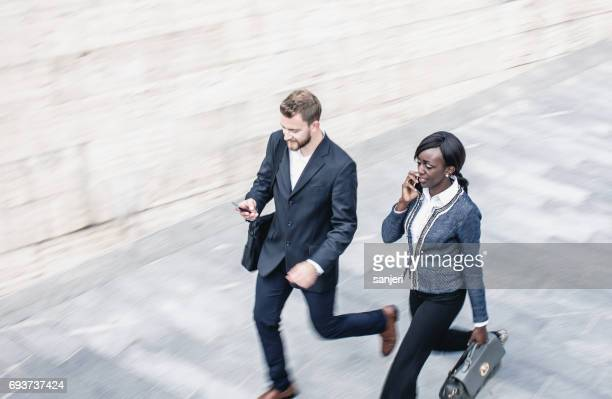Business People Walking in the Street, Blurred Motion