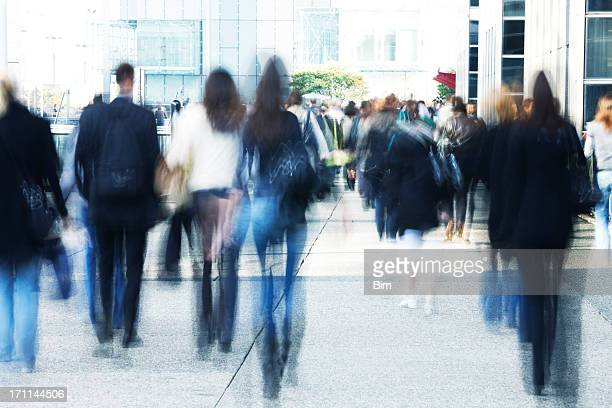 business people walking to work - pedestrians stock photos and pictures