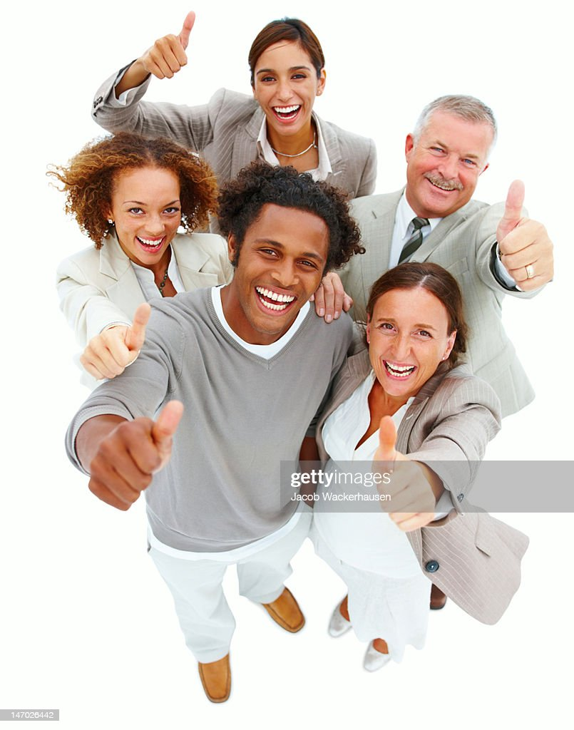 Business people with thumbs up sign : Stock Photo