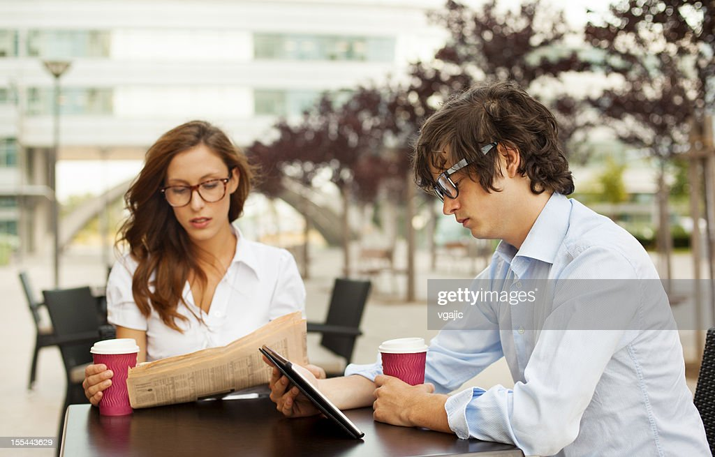 Business People Working Coffee Break Outdoors. : Stock Photo