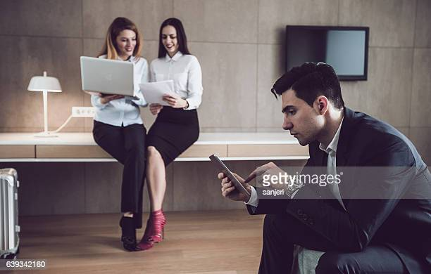 Business People Working in a Hotel Room