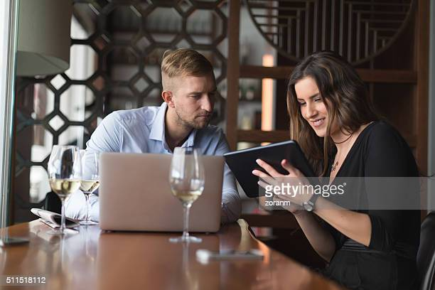 Business people working in restaurant