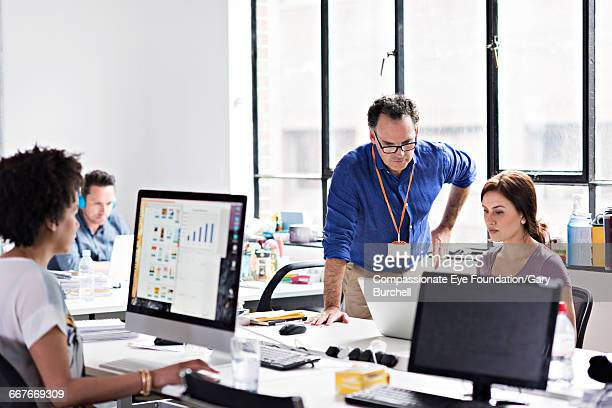 Business people working in tech start-up office
