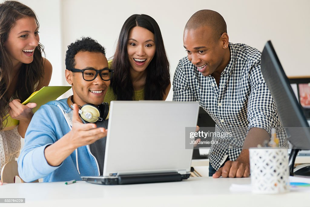 Business people working together on laptop in office : Foto stock