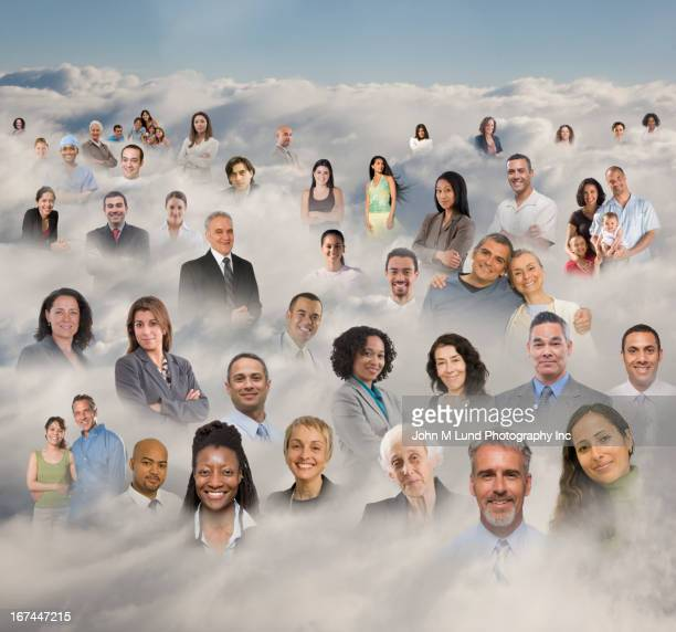 Business people's heads in clouds