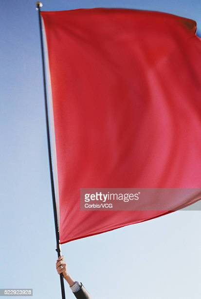 Business Person Waving Red Flag