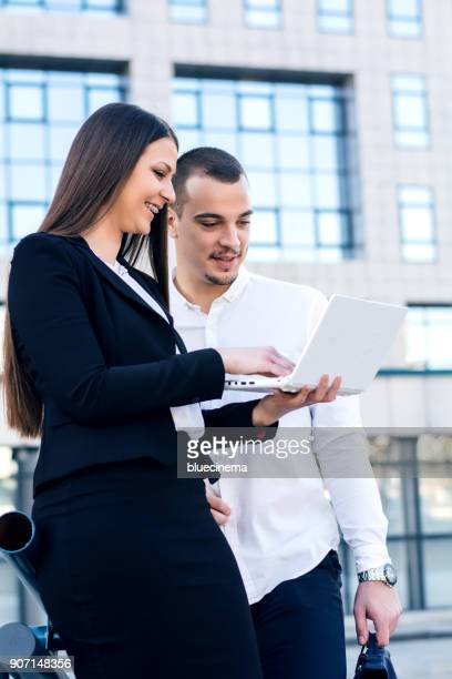 Business person Working With Laptop Outdoors