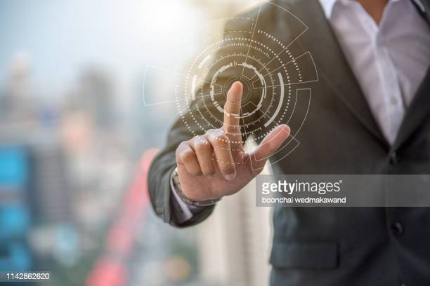 business person working with modern virtual technology - sensor stock pictures, royalty-free photos & images