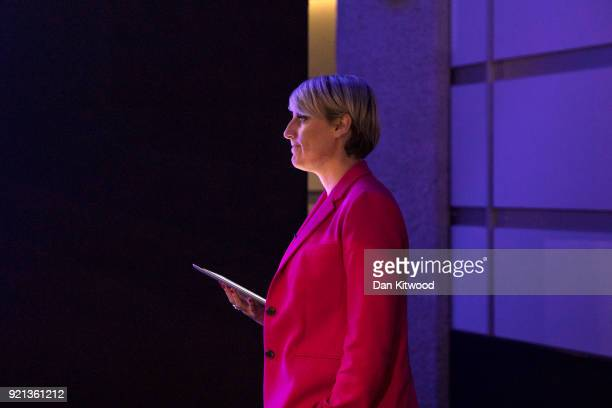 Business presenter Stephanie McGovern waits on stage to announce Labour Leader Jeremy Corbyn as he arrives to deliver a speech at The Queen Elizabeth...