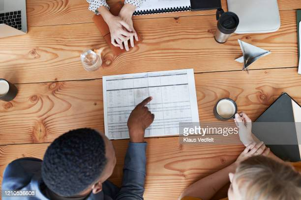 business professionals discussing plan in meeting - business plan stock pictures, royalty-free photos & images