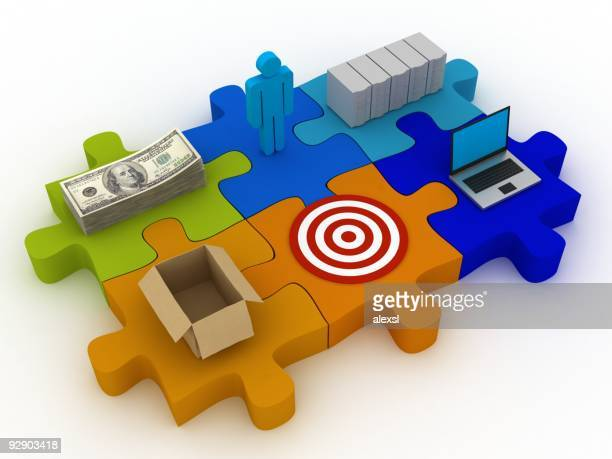 business puzzle - computer system diagram stock photos and pictures