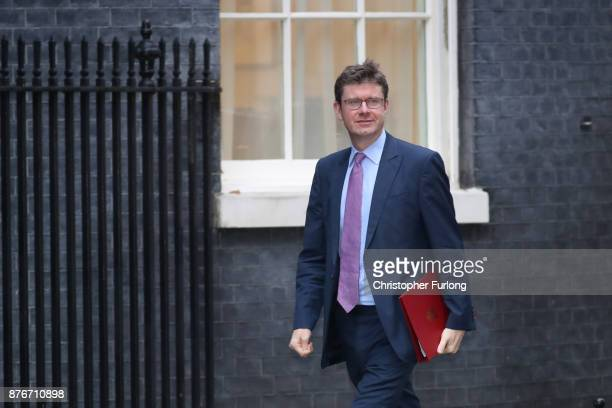 Business Secretary Greg Clark arrives at Downing Street for the Inner Brexit Cabinet meeting on November 20 2017 in London England Prime Minister...