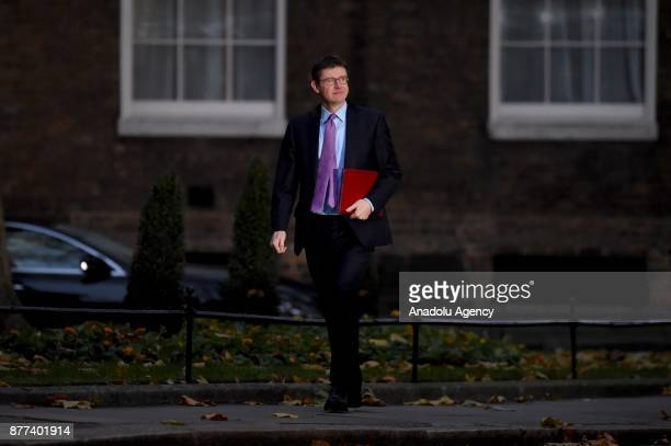 Business Secretary Greg Clark arrives for a cabinet meeting ahead of the Chancellor's annual budget at 10 Downing Street on November 22 2017 in...