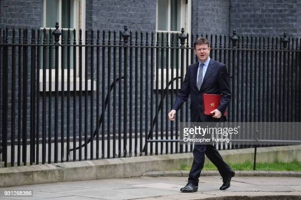 Business Secretary Greg Clark arrives for the weekly cabinet meeting at 10 Downing Street on March 13 2018 in London England