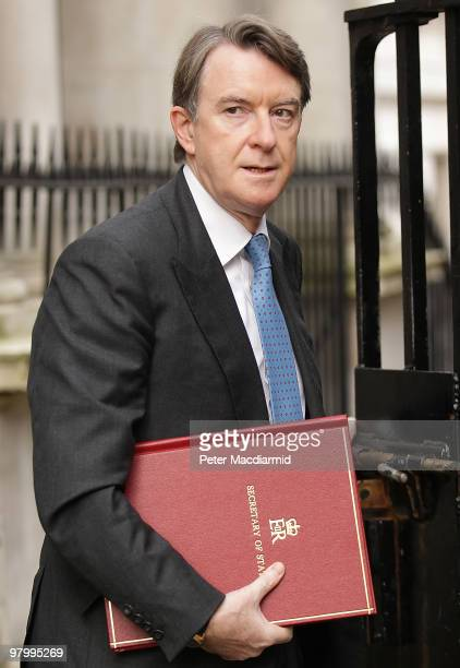 Business Secretary Lord mandelson arrives at the back gates of Downing Street on March 24 2010 in London England Later the Chancellor of the...