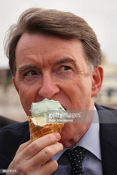 Business Secretary Lord Mandelson eats an ice cream on the pier on April 15 2010 in Blackpool England The General Election to be held on May 6 2010...