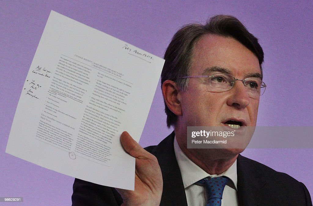 Business Secretary Lord Mandelson holds up a page from the Conservative party election manifesto as he speaks to reporters on April 23, 2010 in London, England. The General Election, to be held on May 6, 2010 is set to be one of the most closely fought political contests in recent times with all main party leaders embarking on a four week campaign to win the votes of the United Kingdom electorate.