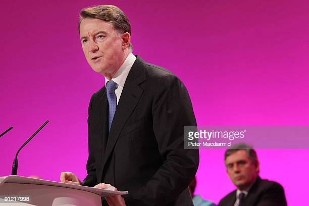 Business Secretary Lord Mandelson is watched by Prime Minister Gordon Brown as he speaks at The Labour Party Conference on September 28 2009 in...