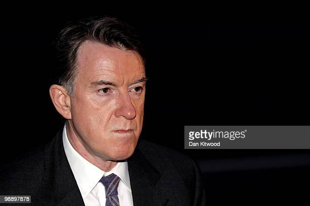 Business secretary Lord Mandelson leaves Labour Party Headquarters on May 7 2010 in London United Kingdom After 5 weeks of campaigning including the...