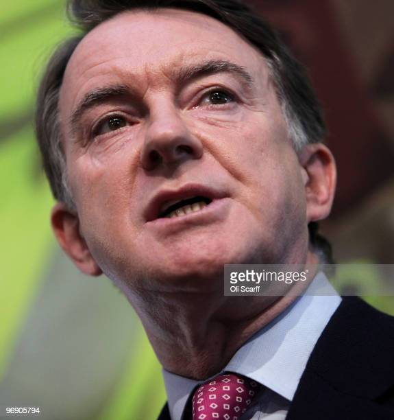 Business Secretary Lord Mandelson speaks before British Prime Minister Gordon Brown delivers a speech at the University of Warwick on February 20...