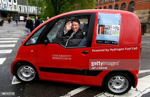 Business Secretary Peter Mandelson is driven in a electric car during a visit to The University of Birmingham on April 29 2010 in Birmingham...