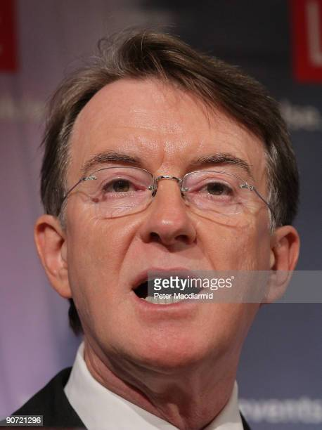 Business Secretary Peter Mandelson speaks at the London School of Economics on September 14 2009 in London England Lord Mandelson said that the...