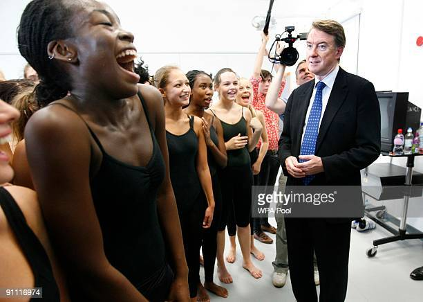 Business Secretary Peter Mandelson talks to dancers at the British school of performing arts September 24 2009 in Croydon England Mandelson visited...
