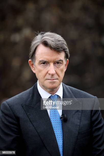 Business Secretary Peter Mandelson waits to speak to the press on College Green on March 24 2010 in London England In Parliament today the Chancellor...