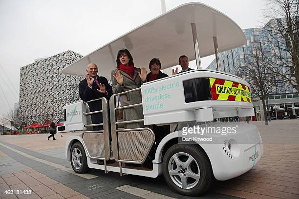 Business Secretary Vince Cable stands in a driverless vehicle on February 11 2015 in London England A series of trials is due to start in the UK...
