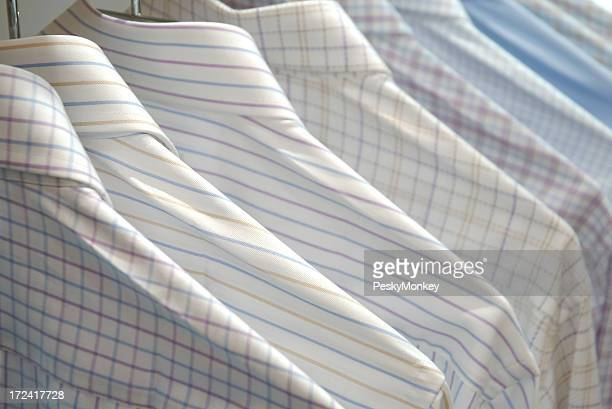 Business Shirts for the Week Hanging in a Row