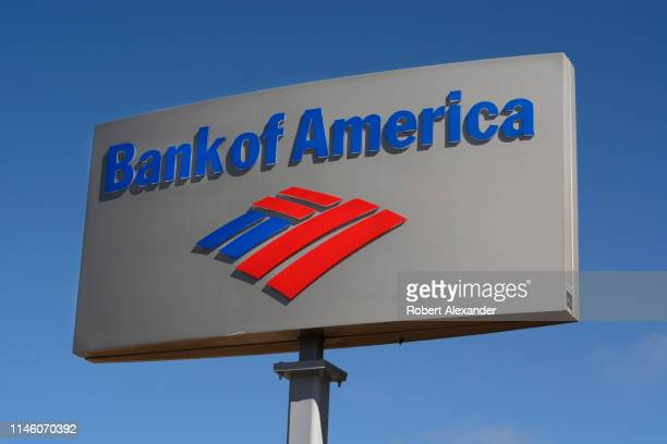 A business sign outside a Bank of America bank in Santa Fe New Mexico