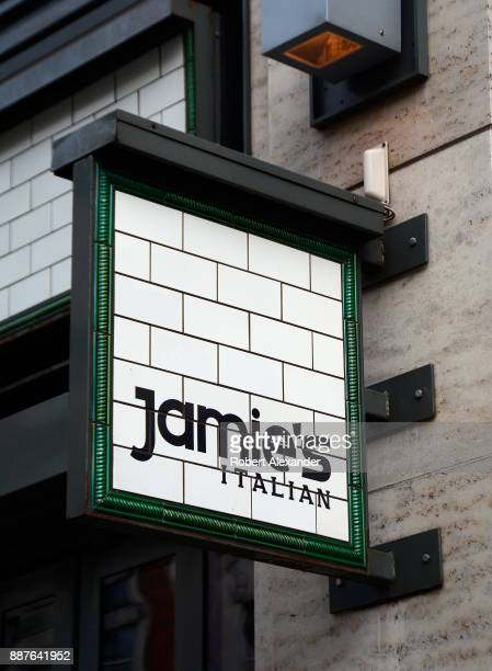 Business sign over the entrance to a Jamie's Italian restaurant in London, England. The chain of London restaurants are owned by celebrity chef Jamie...