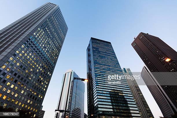Business Skyscrapers Shinjuku District Tokyo Japan at Night