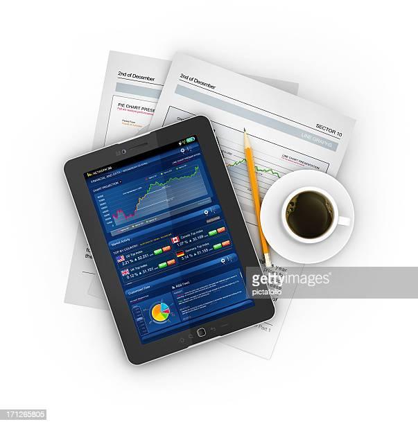 ビジネス株式タブレットでのコーヒー