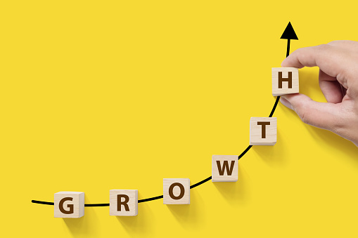 Business success growing growth increase up concept. Wooded cube block on white background with word GROWTH and copy space for your text 956031274