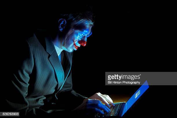 Business suit man clown mask