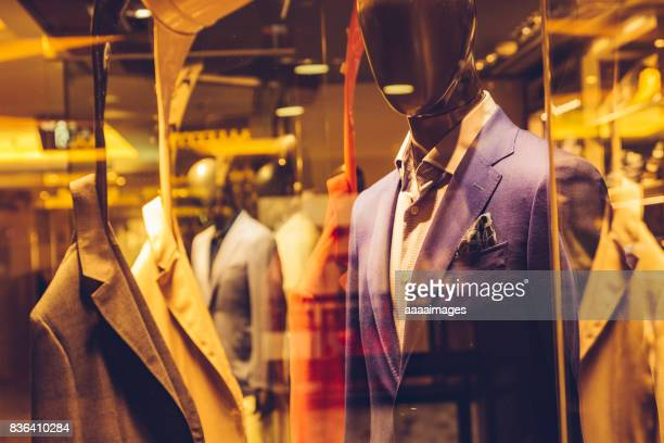 business suits in display window