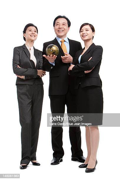 Business team and globe