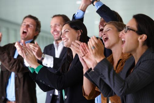 Business team applauding, smiling - gettyimageskorea